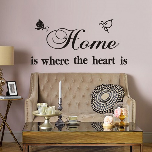 home is where the heart is. sommerfugle - worldofstickers.dk