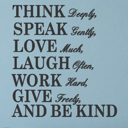 Think, speak, love, laugh, work - WorldOfStickers.dk